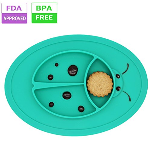 b2c227fdad8a Silicone Baby Placemat Bowl-Highchair Feeding Tray Round Suction ...