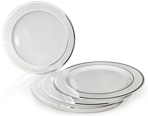 OCCASIONS \u201d 120 PACK Heavyweight Disposable Wedding Party Plastic Plates (7.5\u201d Salad/Dessert Plate White / Silver Rim)  sc 1 st  FrumCare.com & OCCASIONS \