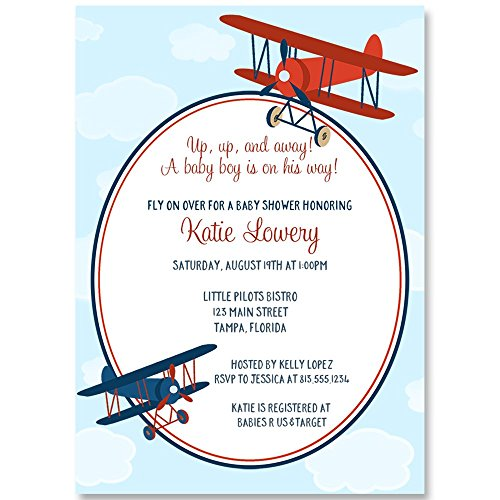 Airplane Baby Shower Invitations Baby Boy Blue Red Flying
