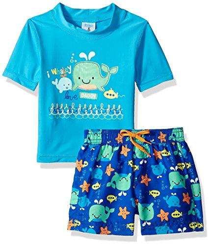 c2607dc7325d9 Kiko & Max Baby Boys Set With Short Sleeve Rashguard Swim Shirt, Blue  Whales, 3-6 Months