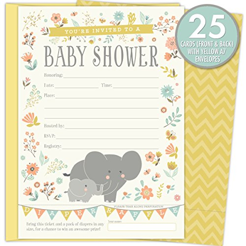 2 in 1 elephant baby shower invitations and tear off diaper raffle