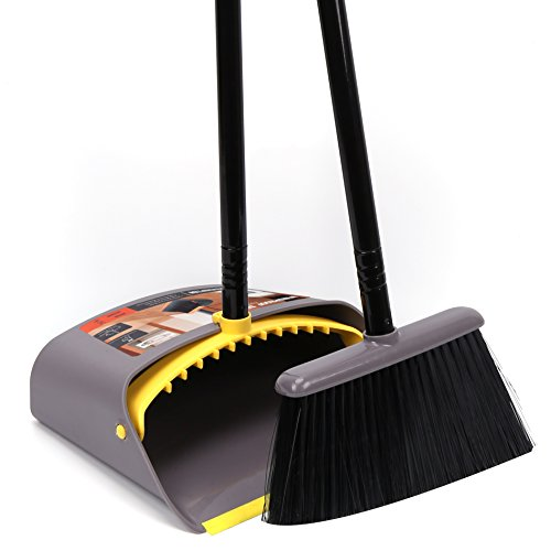 Dust Pan And Broom Combo Set Long Handle Standing Upright