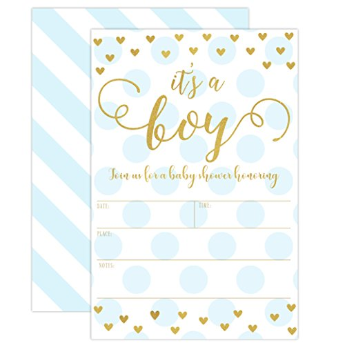 Boy Baby Shower Invitations Blue And Gold Its A Boy Baby Shower