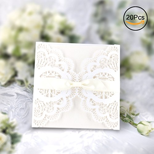 Elegant invitations cards kits gospire 20pcs laser cut lace wedding elegant invitations cards kits gospire 20pcs laser cut lace wedding party invitations cards with printable paper and envelopes for engagement wedding stopboris Gallery
