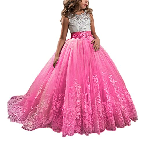WDE Princess Hot Pink Long Girls Pageant Dresses Kids Prom Puffy ...