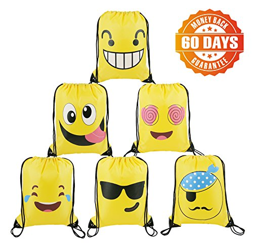 BeeGreen Emoji Party Supplies Favor Bags Drawstring Backpack For Kids Teens Boys And Girls Birthday Goody Gift 10 Pack 6