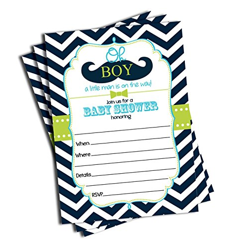 50 Mustache Oh Boy! Baby Shower Invitations And Envelopes (Large Size 5×7)  Little Man Baby Shower