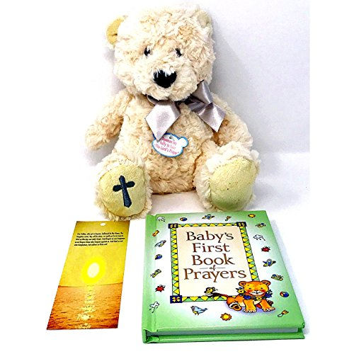 "Baptism Gift, Christening, or Confirmation Keepsake Gifts for Boy or Girl with Baby's First Book of Prayers Bible for Kids -Includes 11"" Plush Bear that ..."
