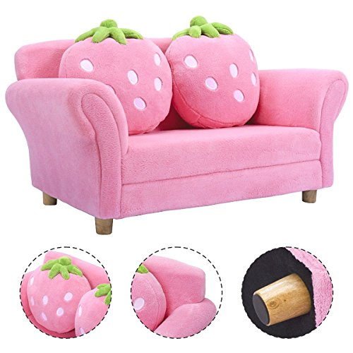 Costzon Children Sofa, Kids Couch Armrest Chair, Upholstered Living ...