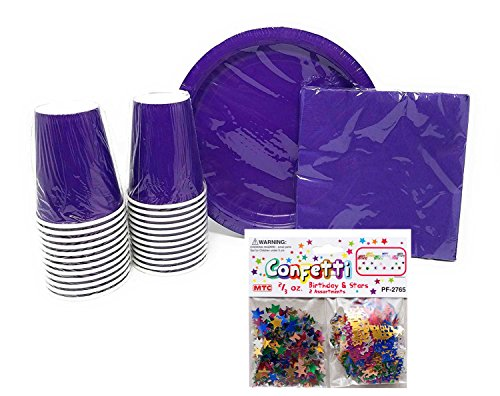 PartyDeiz Paper Dinner Plates Cups and Napkins (Purple) Party Supplies Pack for 20 Guests. Baby Shower Happy Birthday  sc 1 st  FrumCare.com & PartyDeiz Paper Dinner Plates Cups and Napkins (Purple) Party ...