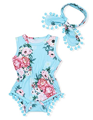 Oklady Newborn Baby Girls Clothes Sleeveless Floral Tassel Romper