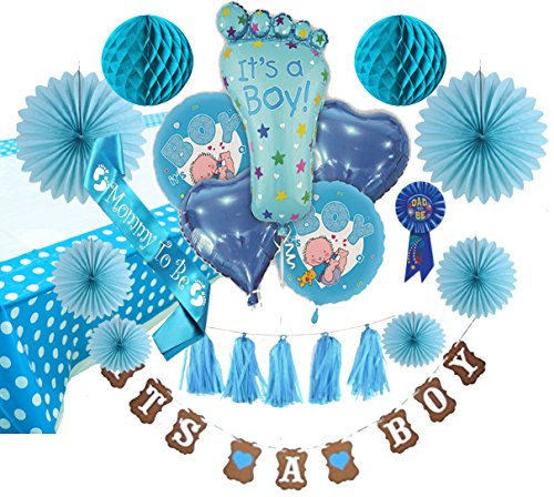 "Baby Shower Decorations for Boy Baby /""Mommy To Be/"" Sash and ""Dad To Be"" Pin"