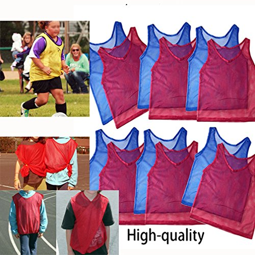 12pk YOUTH Scrimmage Practice Jerseys Team Pinnies Sports Vest Children Soccer