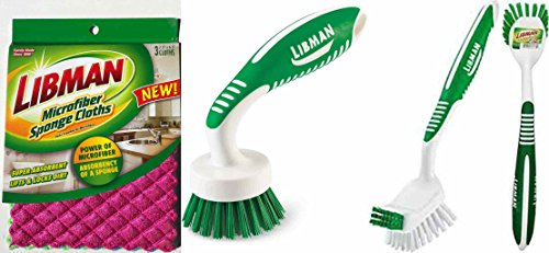 Libman Scrub Brush Dish Cloth Bundle Household Cleaning Supplies for ...