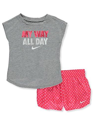 de0242463 NIKE Baby Girls' 2-Piece Short Set Outfit – Racer Pink, 12 Months ...