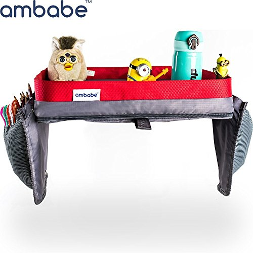 Ambabe Kids Travel Tray Car Seat Organizer Children Activity Table Portable Trip Accessory For Girls And Boys