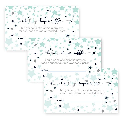 Little Star Diaper Raffle Cards For Baby Shower Invitations Set Of