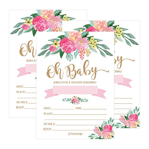 25 cute floral oh baby shower invitations for girls pink blush gold tweet mightylinksfo