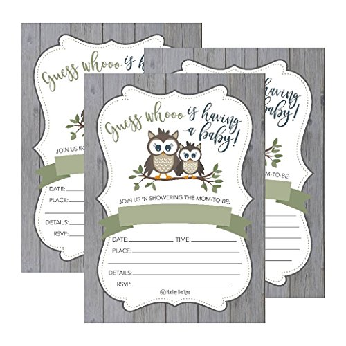 25 cute rustic owl woodland forest baby shower invitations printed 25 cute rustic owl woodland forest baby shower invitations printed fill in the blank invites for girls boys gender neutral grey unique vintage coed nature filmwisefo
