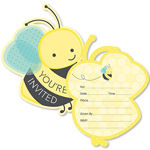 Big dot of happiness honey bee shaped fill in invitations baby big dot of happiness honey bee shaped fill in invitations baby shower or birthday party invitation cards with envelopes set of 12 stopboris Image collections