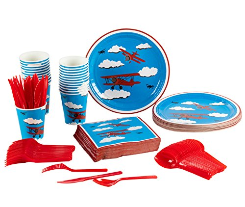 Disposable Dinnerware Set \u2013 Serves 24 \u2013 Airplane Party Supplies for Kids Birthdays \u2013 Includes Plastic Knives Spoons Forks Paper Plates Napkins Cups  sc 1 st  FrumCare.com & Disposable Dinnerware Set \u2013 Serves 24 \u2013 Airplane Party Supplies for ...