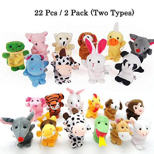 10//12X Family Finger Puppets Cloth Doll Baby Educational Hand Cartoon Animal Toy
