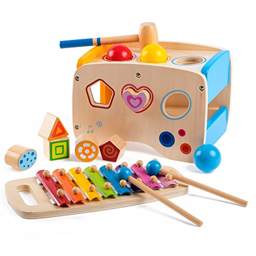 Rolimate Wooden Learning Hammering Pounding Toys 8 Notes Xylophone Shape Color Recognition Best Birthday Gift Toy For Age 3 4 5 Years Old And Up Kid