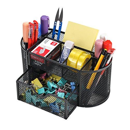 Mesh Desk Organizer Caddy Agptek Office Supplies Set With 9 Space Saving Drawer For School Study Work Use Black