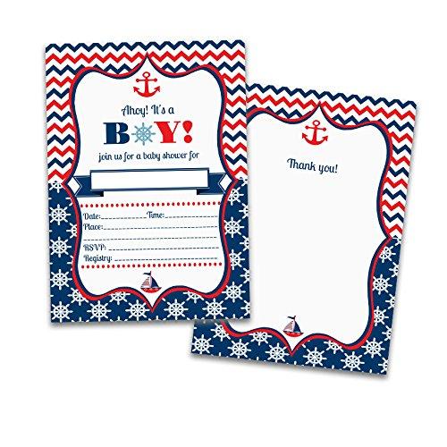 25 fill in baby boy shower invitations 25 matching thank you cards 25 fill in baby boy shower invitations 25 matching thank you cards 50 envelopes nautical marine coastal filmwisefo