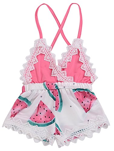 968b22672e81 2018 Summer Toddler Baby Girl Clothes Cute Watermelon Print Lace Trim  Backless Romper Shorts Jumpsuit (Pink, 12-18 Months)