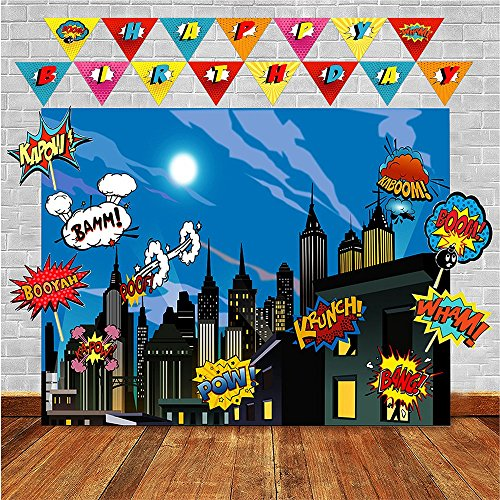 Superhero Photo Backdrop and Birthday Banner- Top Quality Superhero ...