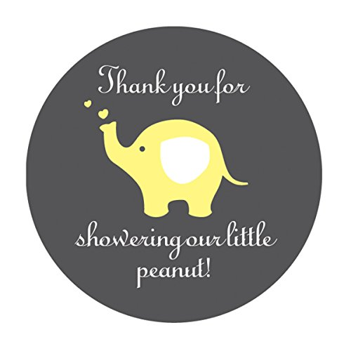 yellow elephant thank you stickers unisex gender neutral baby