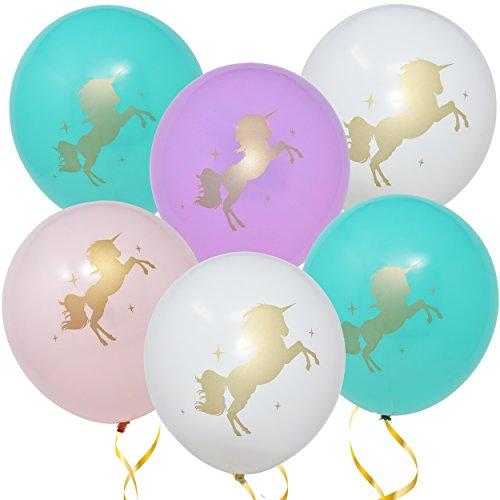 36 Unicorn Balloons Decorations 36 Pack 12 Light Pink White Purple