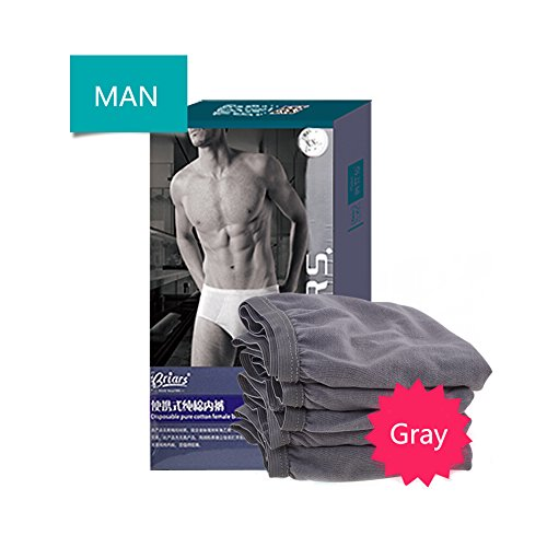 d9dde16fb444 HaloVa Men's Disposable Briefs 100% Cotton incontinence Underwear for Travel,  Business, Comfortable and Healthy, 4 Count, Gray