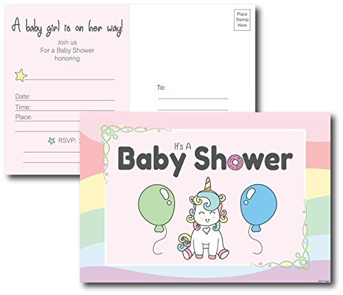 50 Unicorn Baby Shower Invitations Girl Postcards Envelopes Not