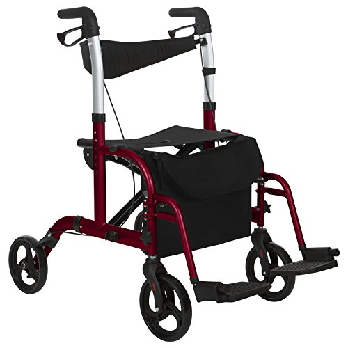 sports shoes 755e0 1482a Rollator Walker with Seat by Vive – Wheelchair Transport Chair – 8 inch  wheels – Foldable, Lightweight Adult Mobility Aid for Elderly, ...