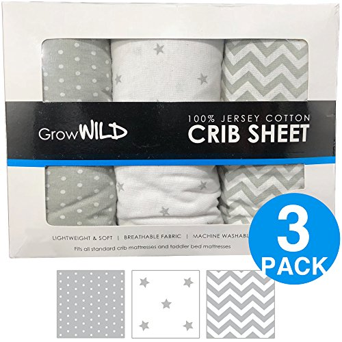 Premium Crib Sheets 3 Pack | Jersey Cotton Fitted Sheets For Boy Or Girl |  Standard Baby Or Toddler Bed Mattress | Grey Chevron, Polka Dots, Stars