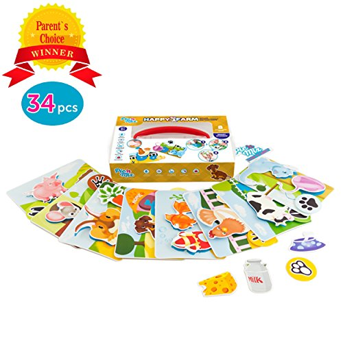 Picnmix Toddler Educational Toys Games Preschool Learning HAPPY FARM Velcro Toy For 3 Year Olds Up Eco Friendly Plastic W