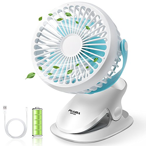 Puaida Clip On Baby Stroller Fan Battery Operated Portable Ultra Quiet Desk With 2500mah 3 Sds And 360 Degree Rotation For Office Bedroom
