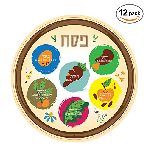Adults and Communal Seders Pictures of Each Item 10 Inch Heavy Duty Plastic The Kosher Cook Disposable Passover Seder Plate Pesach Seder and Kitchen Accessories 6-Pack for Kids