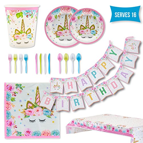 unicorn party supplies set serves 16 guests girls birthday