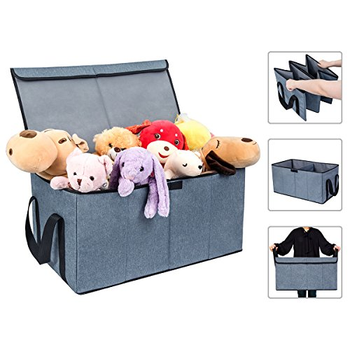 Merveilleux Collapsible Toy Chest Box Large Baby Toy Storage Bin With Flip Top Lid And  Handles 2 Section Waterproof Kids Toys Organizer Sorter For Nursery ...