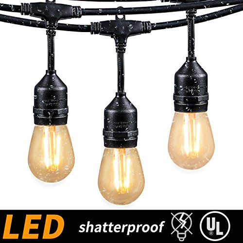 48FT Outdoor String Lights With 15 Shatterproof LED S14 Edison Light  Bulbs UL Listed Commercial Patio Lights For Deck Backyard Porch Balcony  Bistro Cafe ...