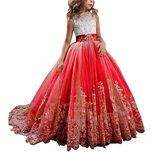 WDE Princess Red Long Girls Pageant Dresses Kids Prom Puffy Tulle ...