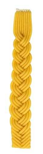Braided Beeswax Havdalah Candle Shabbat Judaica Gift Hand Dipped Bees Wax with Extra Thick Rounded Braid