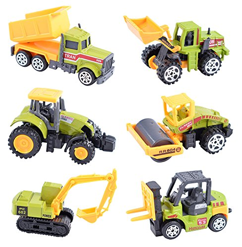 cltoyvers 6 pieces mini metal construction vehicle toys set for kids