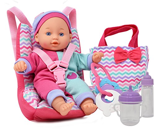 Baby Doll Car Seat With Toy Accessories Includes 12 Inch Soft Body