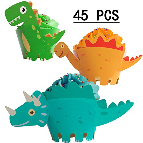 Dinosaur Cupcake Wrappers Toppers Party Supplies Birthday Dino Cake Decorations Jurassic T Rex Triceratops Spinosaurus