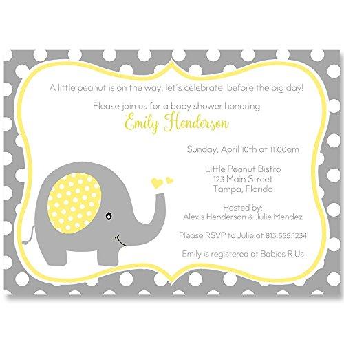 Baby shower invitations polka dot elephant yellow white grey baby shower invitations polka dot elephant yellow white grey gray yellow baby shower elephant baby shower grey baby shower set of 10 custom printed filmwisefo