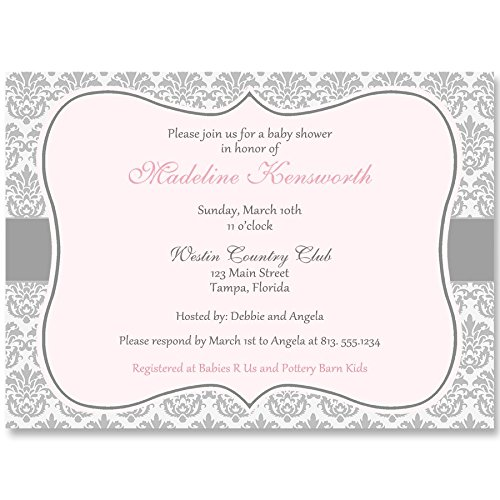 Baby shower invitations damask baby shower pink white grey gray baby shower invitations damask baby shower pink white grey gray pink baby shower girl its a girl set of 10 custom printed invites with envelopes filmwisefo